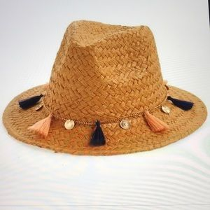 bp Woven Adjustable Fedora with Tassel Hat Band